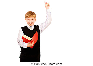point of view - A boy with a book in his hand raised his ...