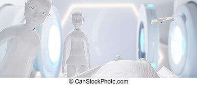 point of view. medical care. View from a bed on two robots and technological equipment 3d-illustration