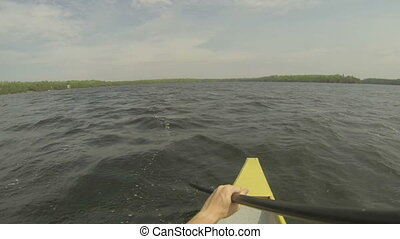 Point of view of rower on a canoe