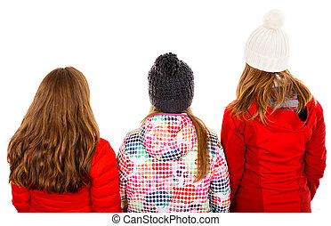 Point of view - Photo of three young girl on isolated white ...