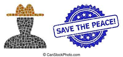 point, persona, sauver, peace!, carrée, paysan, textured, ...