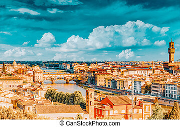point., piazzale, florencia, time., panorama, vista, sobre, ...