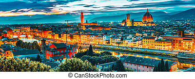 point., piazzale, time.italy., florencia, panorama, vista, ...