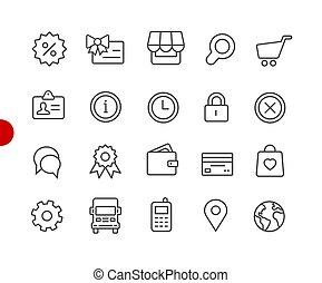 //, point, série, icônes, rouges, magasin ligne