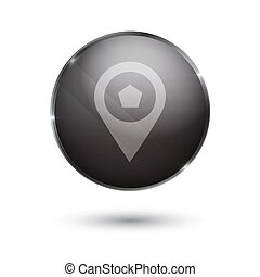 point sign icon glass surface black button