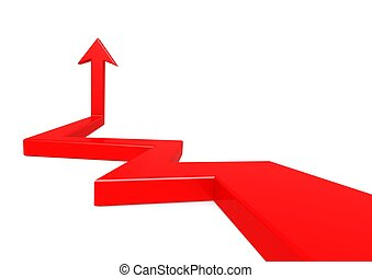Point up arrow red - Rendered artwork with white background