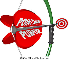 The words Point with Purpose on a red arrow aimed at a bullseye target, symbolizing the importance of being purposeful in aiming to achieve a goal