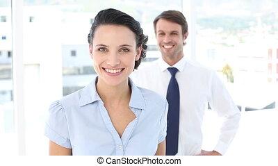 pointage, appareil photo, femme affaires