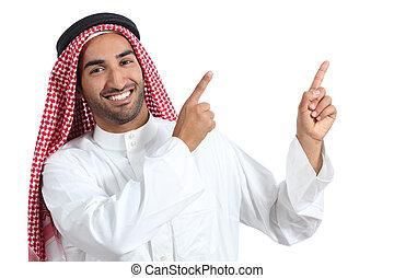 pointage, arabe, présentateur, saoudien, présentation, côté, homme