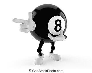 pointage, balle, huit, caractère