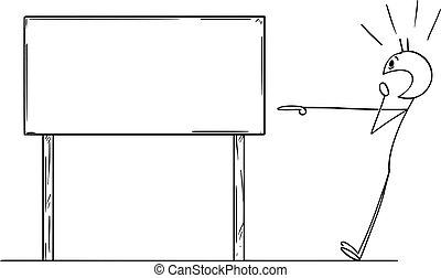 pointage, choqué, signe, vecteur, dessin animé, vide, homme