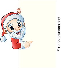 pointage, claus, signe, santa, vide, dessin animé