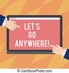 pointage, colorez photo, signe, anywhere., vide, sortir, tablette, visite, étrangers, demander, texte, conceptuel, nouveau, projection, screen., hu, laisser, démontrer, mains, côtés, deux, endroits, analyse, s, rencontrer