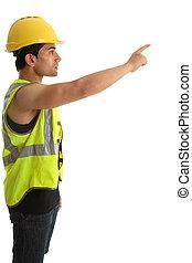 pointage, constructeur, ouvrier, construction, doigt, ou