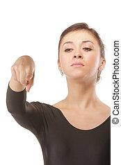 pointage, danse, bas, sévère, index, prof