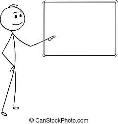 pointage, dessin animé, homme affaires, signe, ou, vide, homme