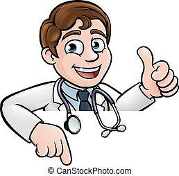 pointage, docteur, caractère, haut, bas, pouces, dessin animé