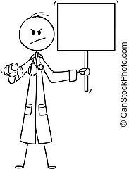pointage, docteur, téléspectateur, signe, regarder, vecteur, tenue, sérieux, dessin animé, vide