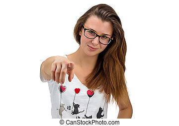 pointage, elle, adolescent, doigt, girl, lunettes