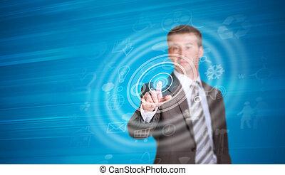pointage, elle, cadre, doigt, complet, homme affaires, cercle