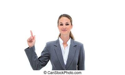 pointage, elle, femme affaires, doigts, haut, blond