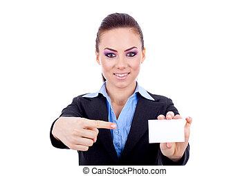 pointage femme, carte, vide