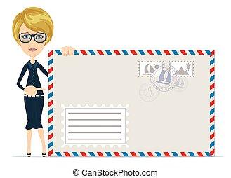 pointage femme, enveloppe, complet, letter., formel