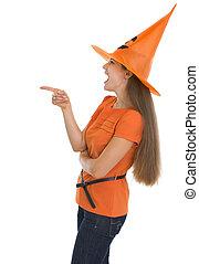 pointage femme, espace, halloween, jeune, copie, chapeau, heureux