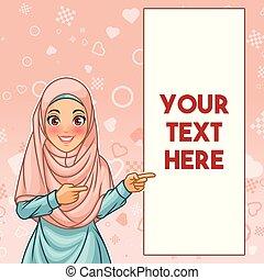 pointage femme, espace, musulman, doigt, copie, côté, gauche