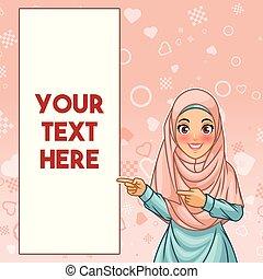 pointage femme, espace, musulman, droit, doigt, copie, côté