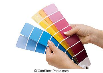 pointage femme, graphique couleur, main, échantillon