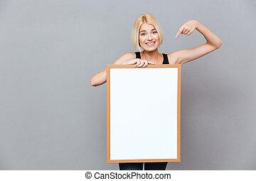 pointage femme, il, planche, tenue, vide, sourire, blanc