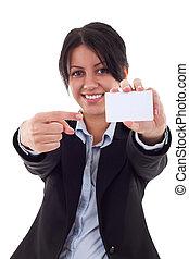 pointage femme, jeune, vide, sourire, carte