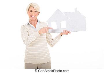 pointage femme, maison, papier, mûrir, blanc