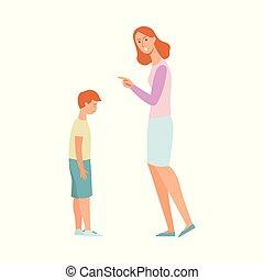 pointage femme, réprimande, fâché, fils, triste, doigt, mère, gosse