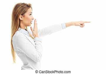 pointage femme, sur, haut, fond, fin, portrait, blanc