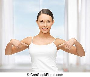 pointage femme, t-shirt, vide, blanc, elle-même