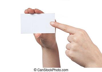 pointage femme, visiter, isolé, il, main, carte, tenue, blanc, vide