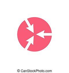 pointage flèche, logo, cercle, espace, vecteur, négatif