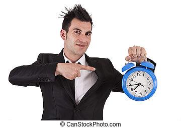 pointage homme, business, horloge