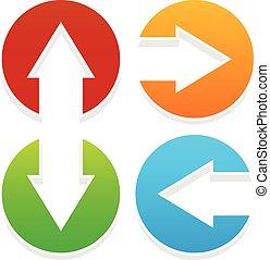 pointage, icônes, haut, bas, gauche, droite flèche