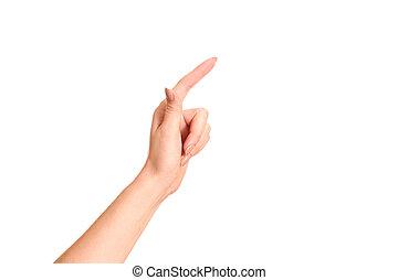 pointage, isolé, main, toucher, quelque chose, femme