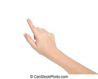 pointage, isolé, main, toucher, quelque chose, femme, ou