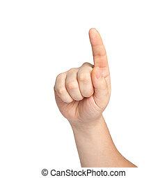 pointage, isolé, main, toucher, quelque chose, mâle, ou