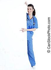 pointage, jeune, planche, vide, infirmière, sourire