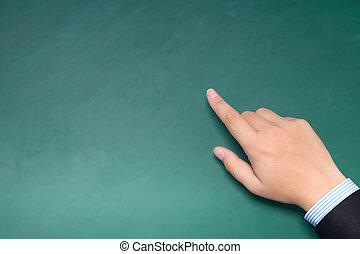 pointage, main, vert, quelque chose, complet, homme affaires, mâle, tableau