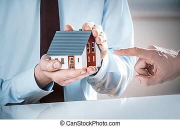 pointage, maison, agent, miniature, doigt, prise