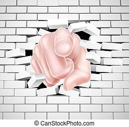 pointage, mur, rupture, main, brique blanche