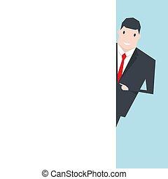 pointage, mur, space., vide, homme affaires, blanc, copie