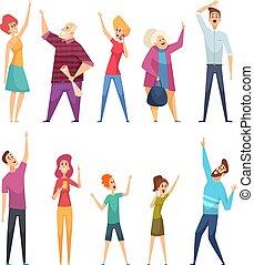 pointage, personnes, dessin animé, regarder, gens, regarder, foule, haut., vecteur, ciel